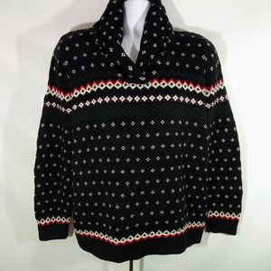 Chaps Shawl Collar Black White Women's Sweater 1X